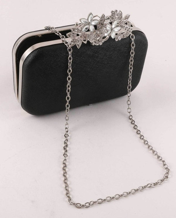 Black Floral Clasp Evening Bag