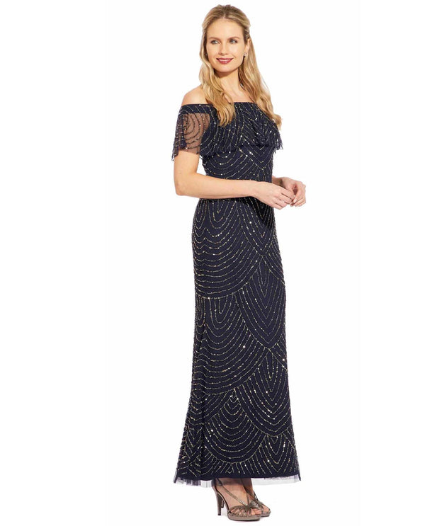 Adrianna Papell AP1E204473 Off The Shoulder Beaded Gown navy off the shoulder gown