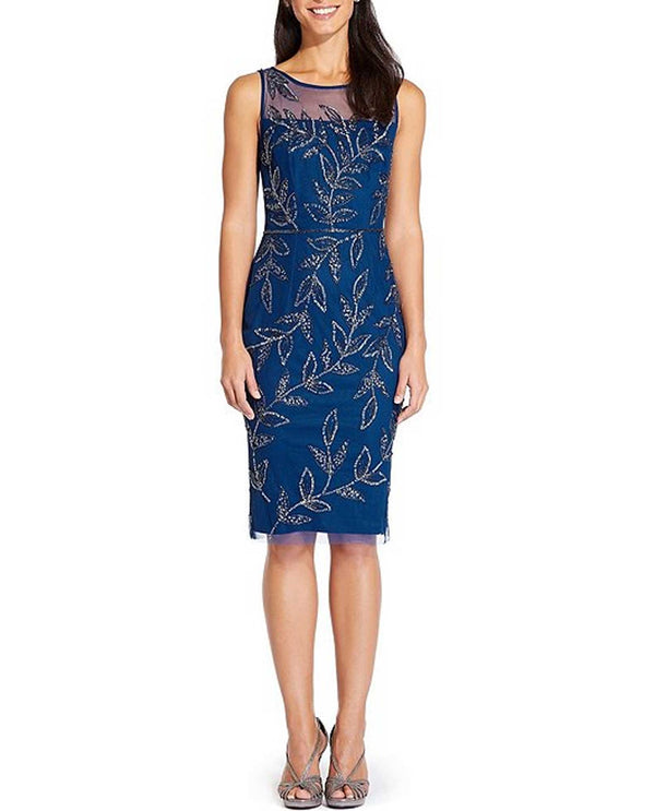 Adriana Papell AP1E205852 Night Flounce Blue Short Dress with beading