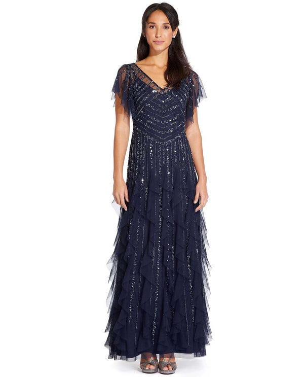 Adrianna Papell AP1E205427 Clipped Hem Beaded Gown navy blue beaded evening gown