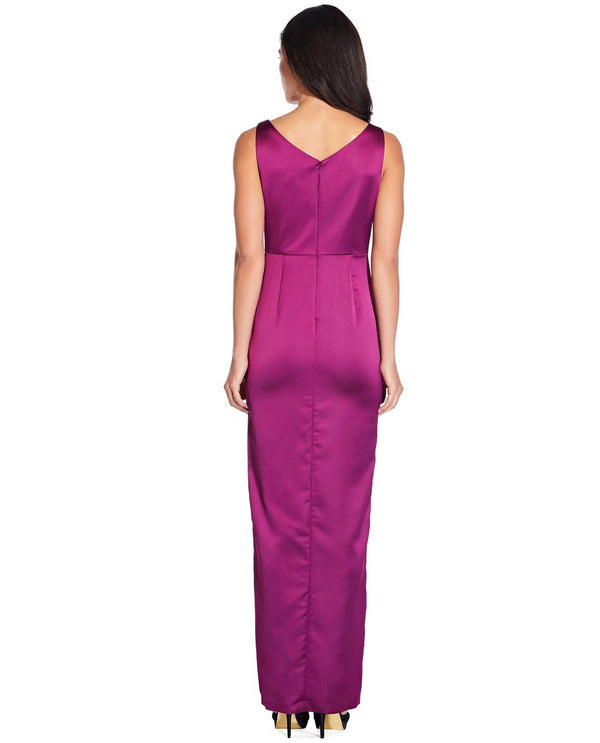 Adrianna Papell AP1E205615 Satin Surplice Gown Amethyst pink satin gown with ruffle accent