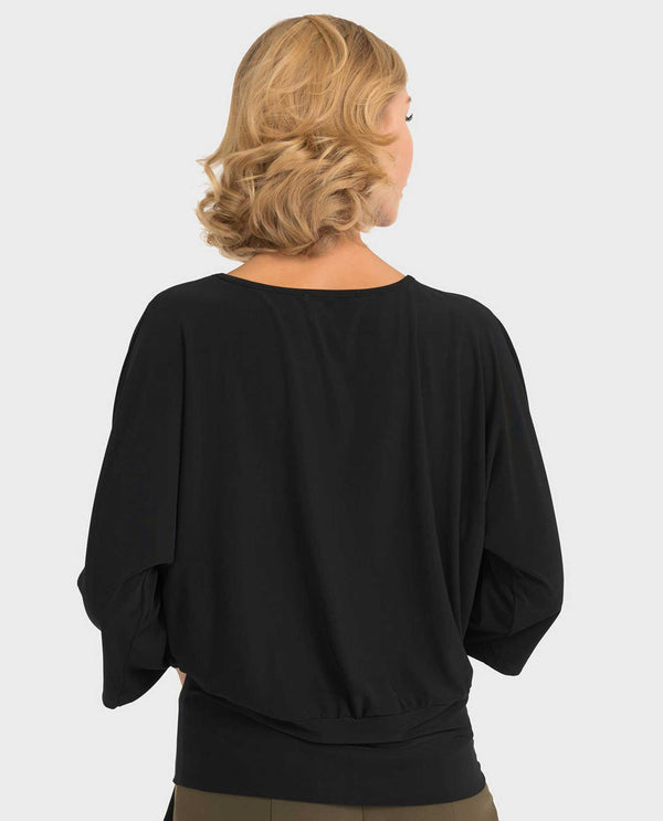 Back view of Joseph Ribkoff 193145 Dolman Sleeve with Tie Bottom