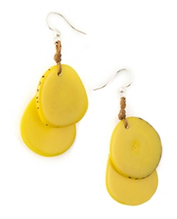 Yellow Organic Tagua 1E410 Fiesta Earrings