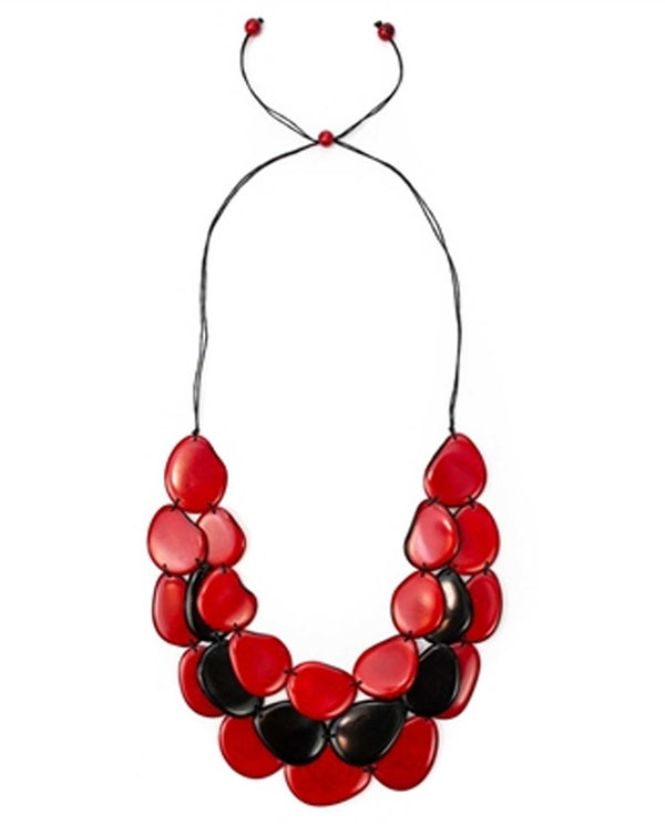 Organic Tagua LC250-RO-ON Amigas Necklace Red Black