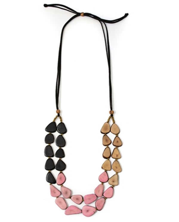 Organic Tagua LC912-PK Marlene Necklace Pink Combo