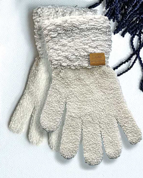 69325 Ivory Chenille Gloves