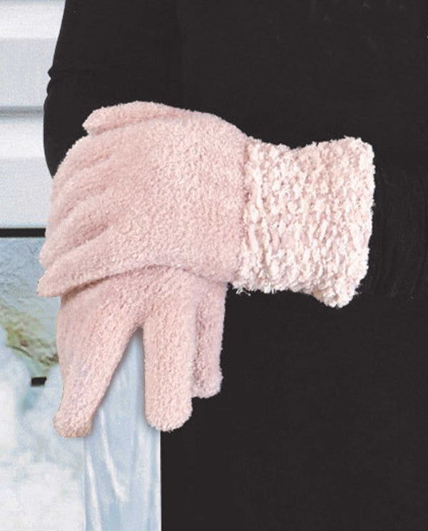 69325 Pink Chenille Gloves