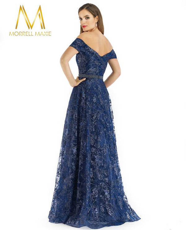 Morrell Maxie 16219 Off Shoulder Gown Midnight Navy