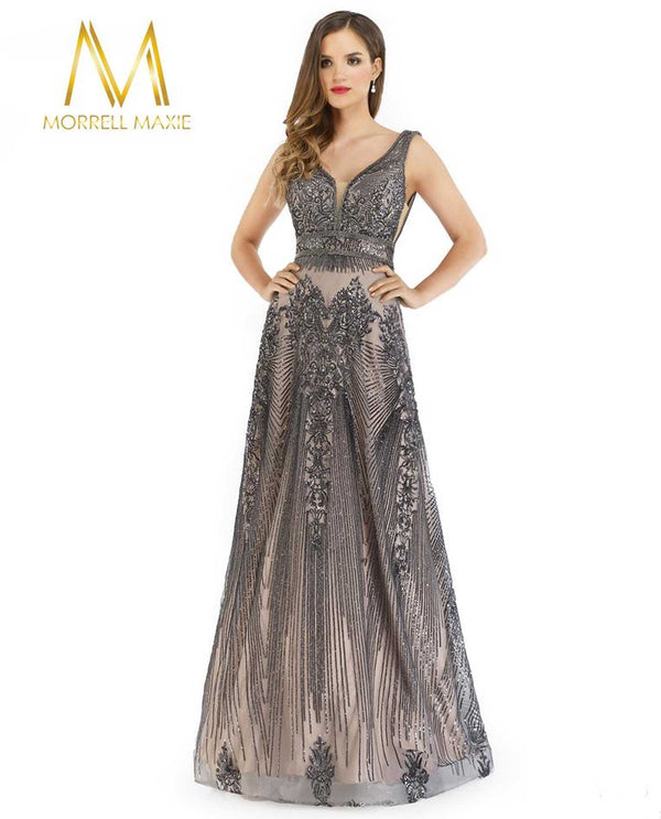 Morrell Maxie 16216 Beaded Tank Gown with A-Line Skirt
