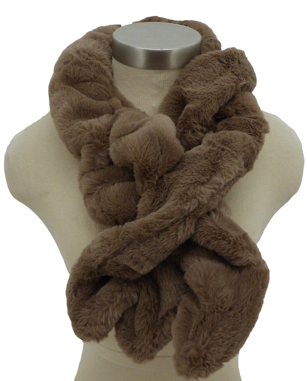 S982 Taupe Sheared Faux Fur Scarf with Loop