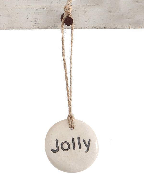 Round Stoneware Tag Ornament Jolly JOLY