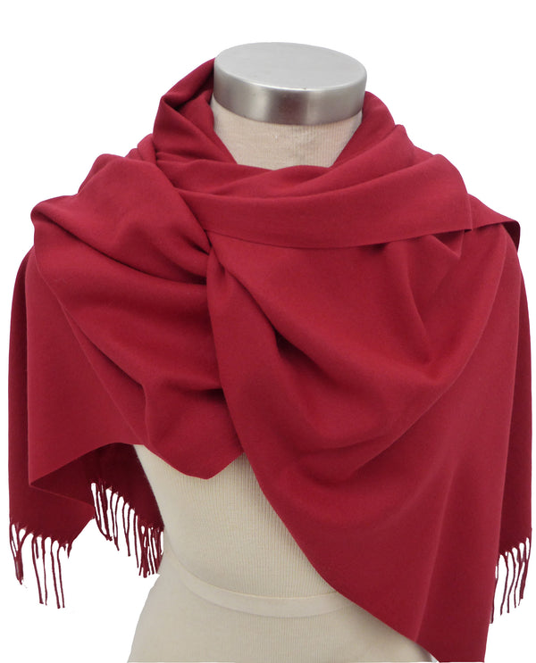 Dark Red S963 Solid Cashmere Scarf