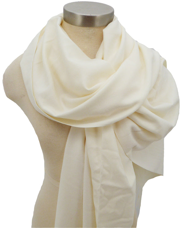 Ivory S963 Solid Cashmere Scarf