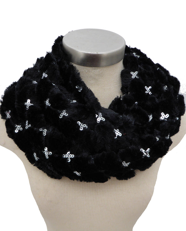 Black X Sequin Fur Infinity Scarf