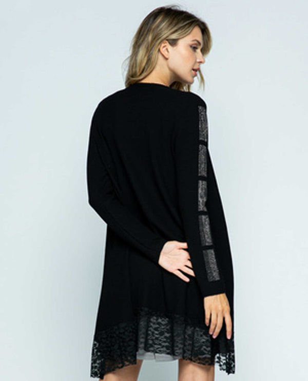 Vocal 18187LC Black Stone Sleeve Lace Hem Cardigan