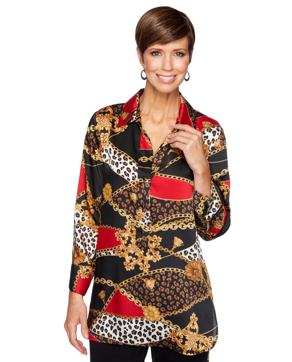 Ruby Rd 63341 Animal Patchwork Bracelet Sleeve Top Multi