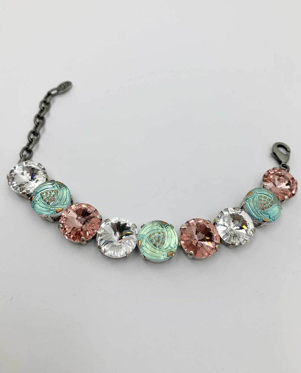 Czech Button Bracelet By Rachel Marie Designs vintage rose