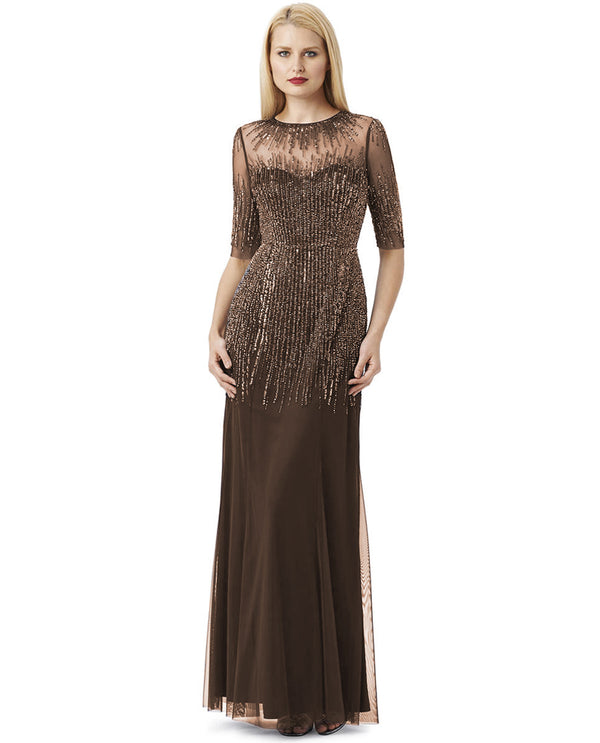 Adrianna Papell 091896950 3/4 Sleeve Bead Gown mocha brown dress with sweetheart neckline