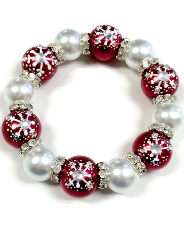 BR-2347 Red Luxi Snowflake Bracelet With Snowflakes