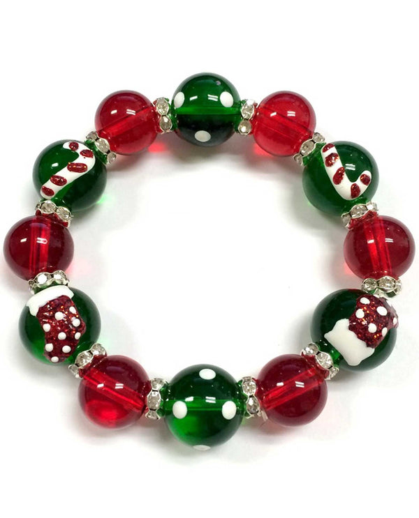 BR-2687 Candy Cane and Stocking Bracelet