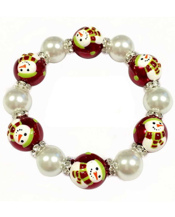 BR-2939B Christmas Snowman with Scarf Bracelet