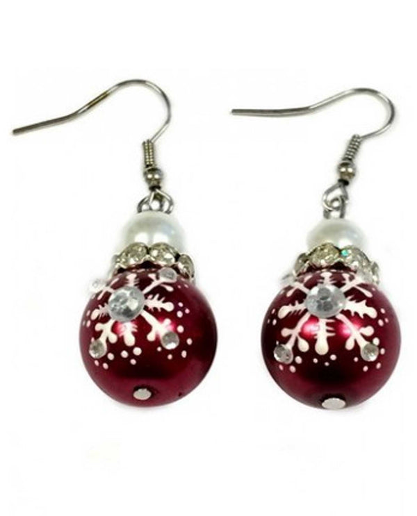E-187 Red Snowflake Earring