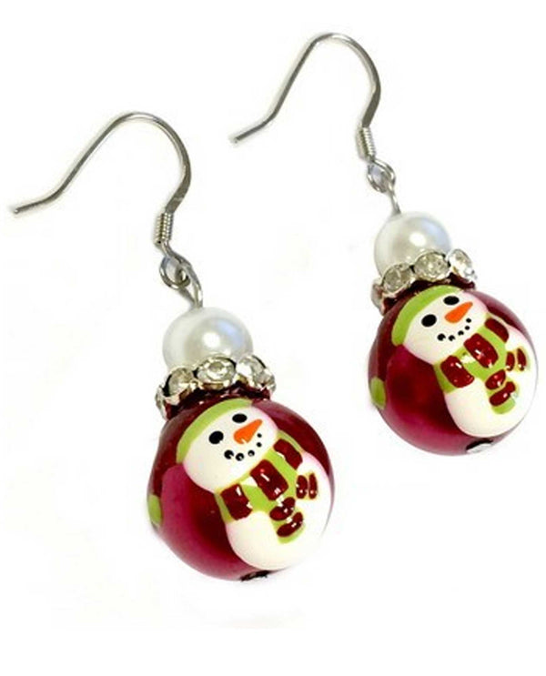 Red Hand Pearl Painted Snowmen Earrings