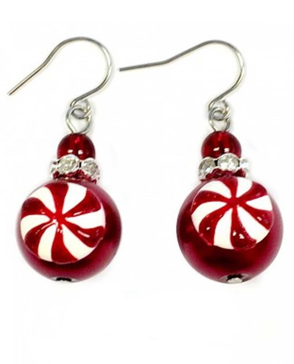 E-355 Christmas Peppermint Candy Earrings