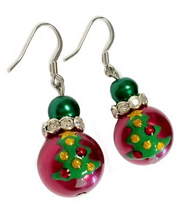 E-346 Red Painted Christmas Tree Glass Bead Earrings