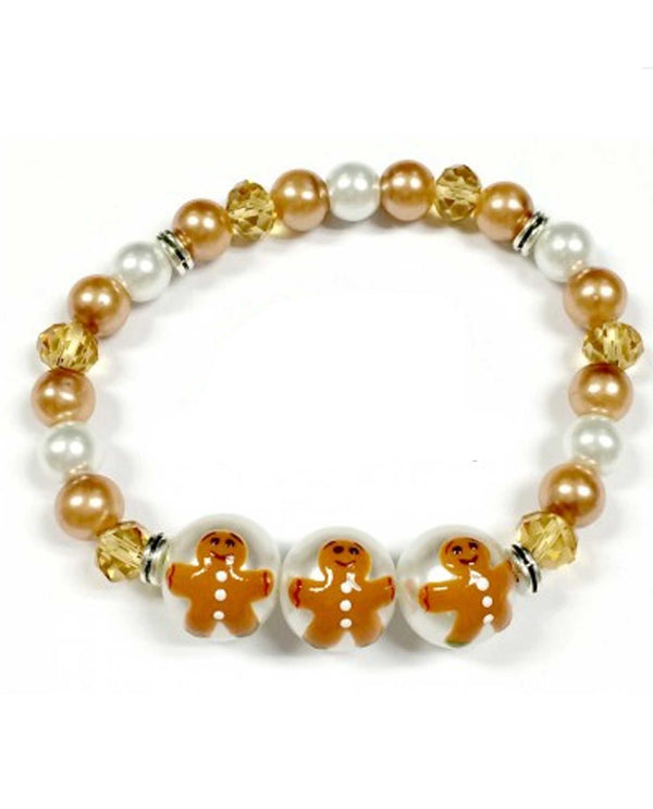 BR-2806F Christmas Gingerbread Glass Bead Bracelet