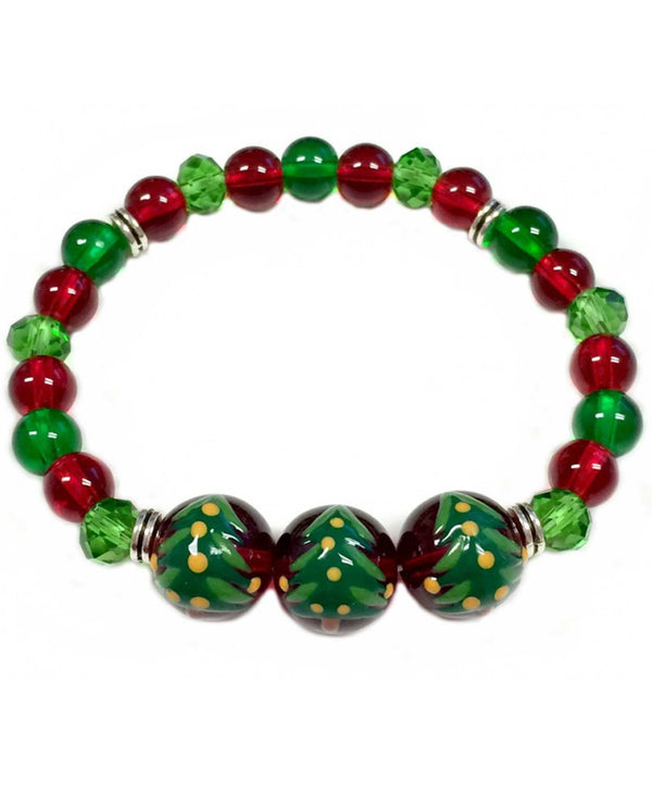BR-2806G Christmas Tree Glass Bead Bracelet