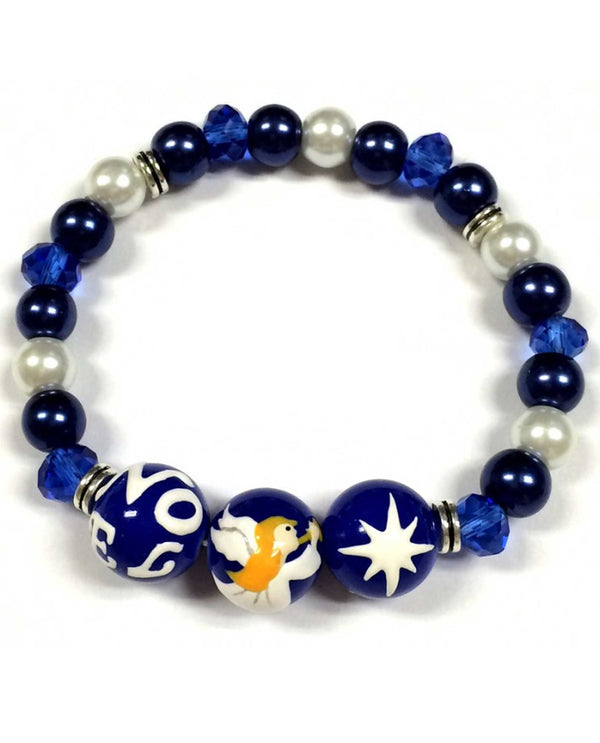 BR-2806B Blue Christmas Noel Angel Glass Bead Bracelet