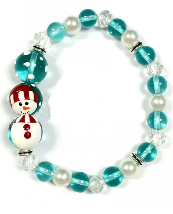 BR-2806D Christmas Frosty The Snowman Glass Bead Bracelet