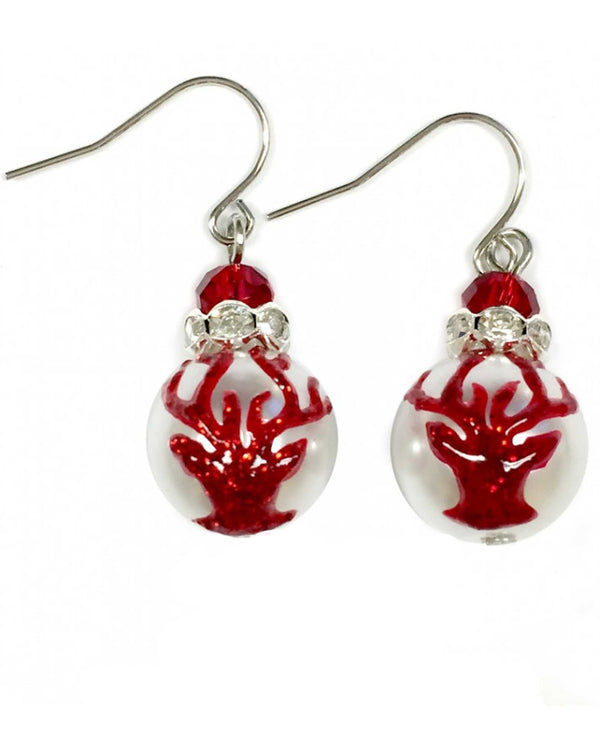 E-304H Christmas Reindeer Glass Bead Earrings