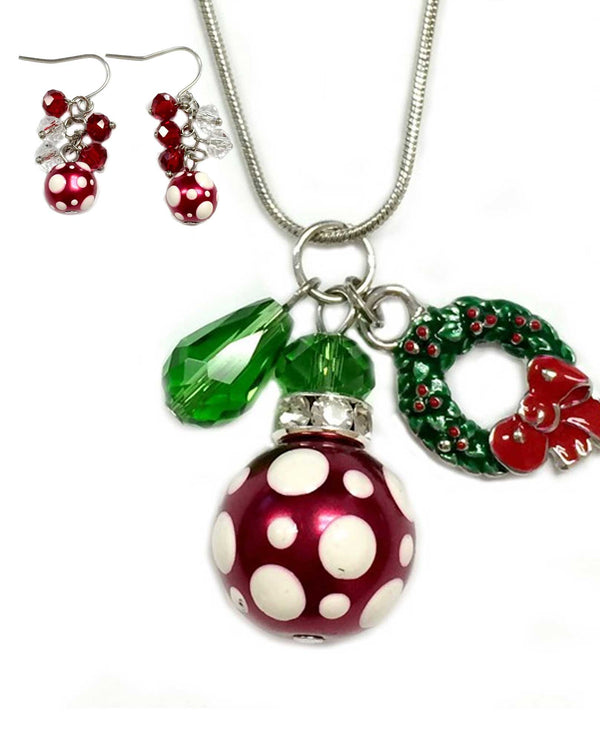 NE-3091H-E-262I Christmas Polka Dot Necklace and Earring Set