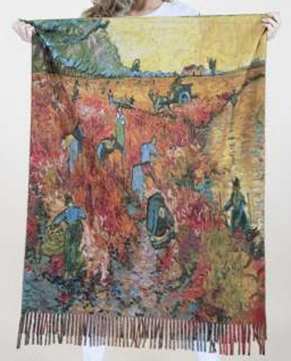 FS40516 Red Vineyard Scarf with van Gogh Painting