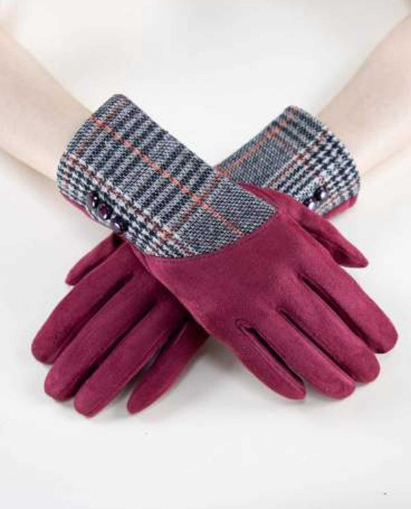 GL12273 Partial Plaid Gloves