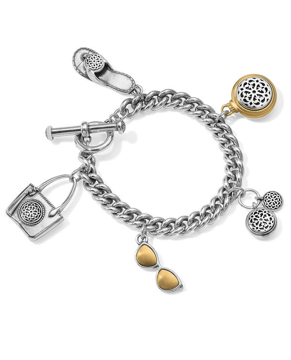 Brighton JF6962 Ferrara Two Tone Toggle Charm Bracelet