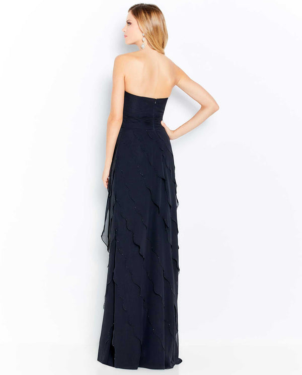 Cameron Blake 120613 Asymmetrical Tiers with Stones Strapless Gown Black