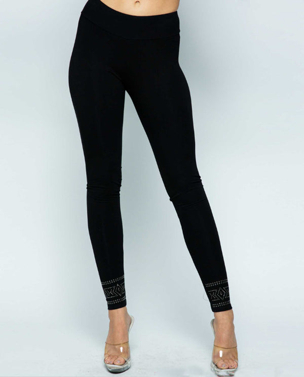 Vocal 18062P Black Leggings with Stones