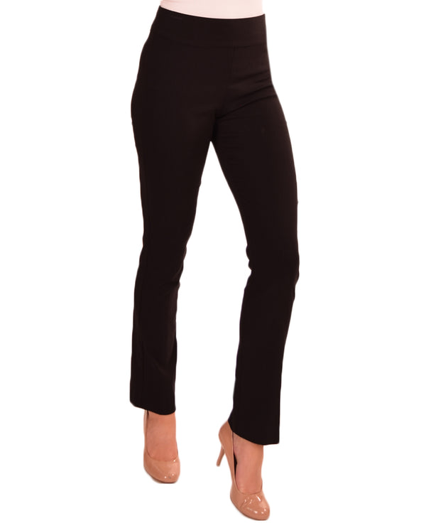Krazy Larry P508 Straight Leg Pants in black give you a slim look with tummy control panel