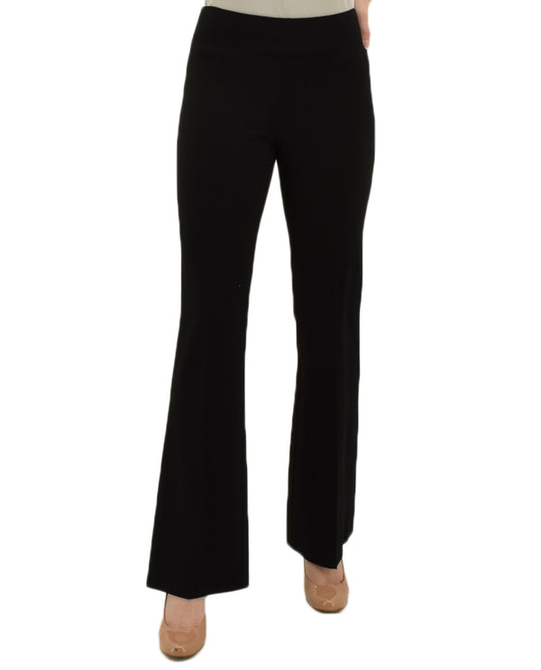 Insight NY Bootcut Solid Scuba Pants in black are heavy weight both slimming and smoothing pants