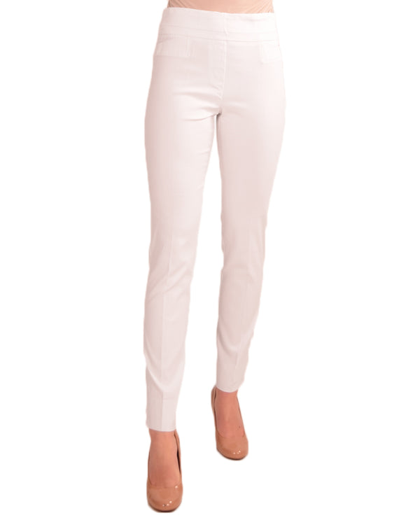 White Renuar R1721 Paris Cigarette Skinny Pull on Pants with slimming waistband for smoothing