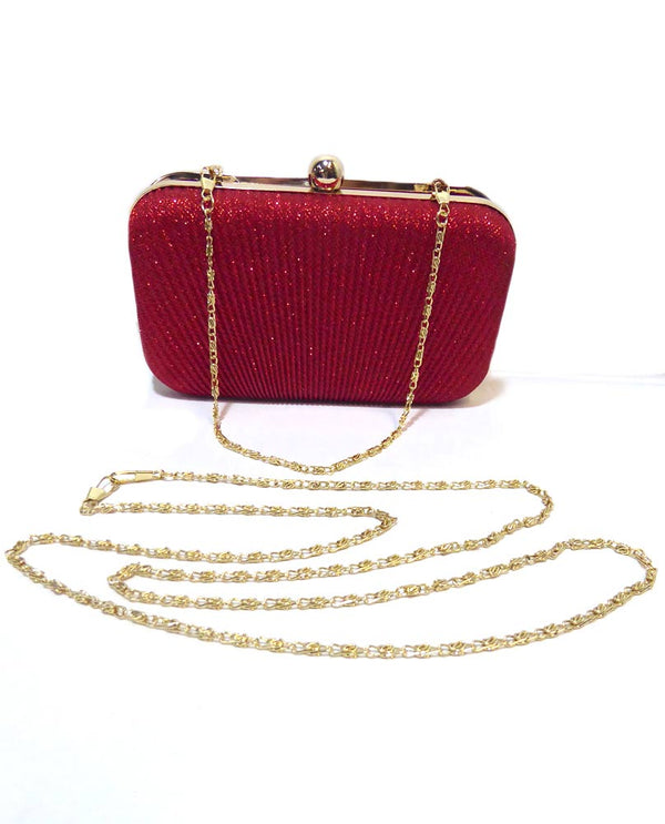 Red Lurex Evening Clutch