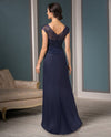 Jade Couture K188013 Sweetheart Neck Bead Top navy lace mother of the bride gown