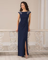 Navy Jade Jasmine J185011 Womens Jersey Beaded Shoulders