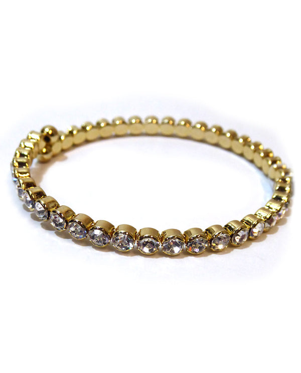 Gold Clear Prongless Large Crystal Bracelet