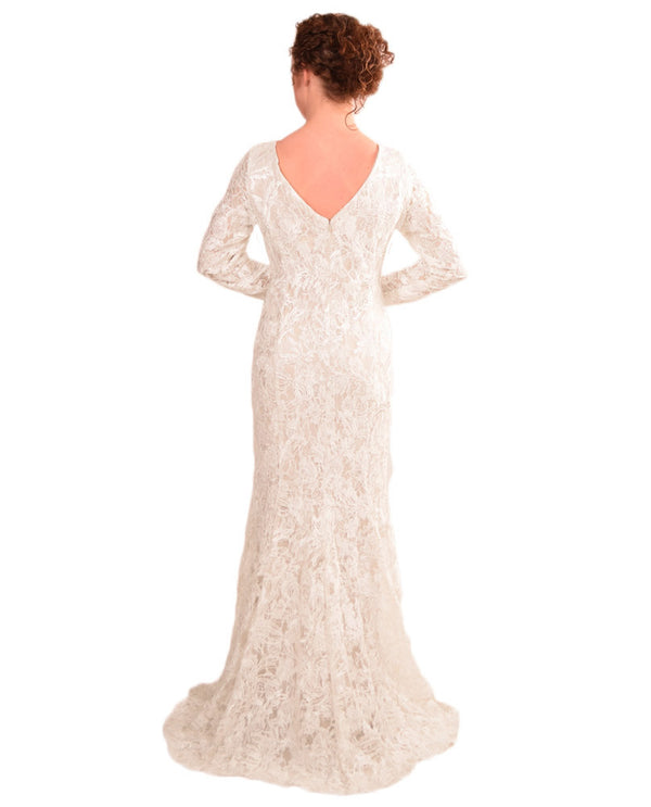 Ursula 35030 Long Sleeve Lace Gown ivory lace gown with long sleeves