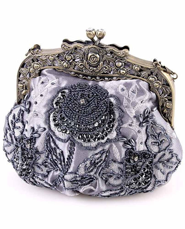 Purple Victorian Style Evening Bag with floral hand beading and detachable gold strap