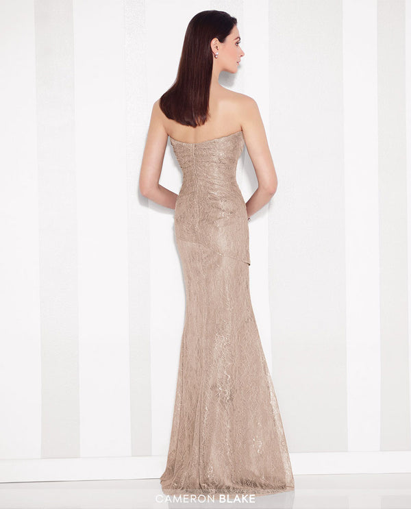 Cameron Blake 216683 Lace Strapless Sheath dress taupe strapless mother of the bride dress